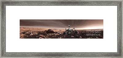 Curiosity Rover On Mars, Artwork Framed Print by Detlev Van Ravenswaay