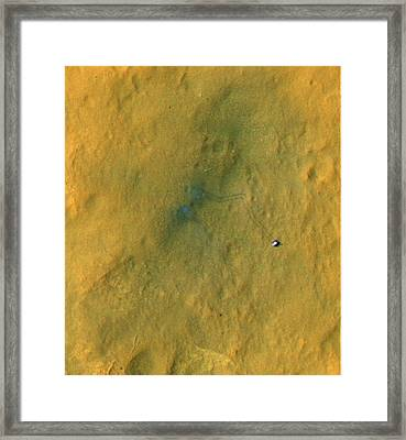 Curiosity Rover On Mars, Satellite Image Framed Print by Science Photo Library