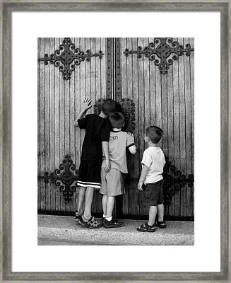 Curious Brothers Framed Print