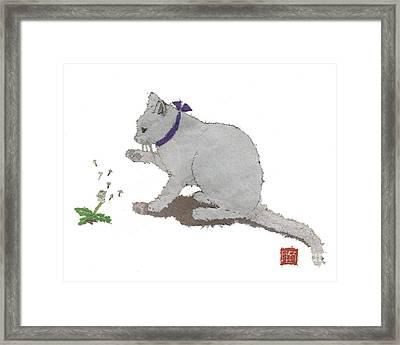 Cat Art Hand-torn Newspaper Painting  Framed Print by Keiko Suzuki