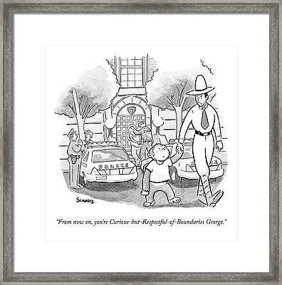 Curious George Is Escorted Out Of A Police Framed Print by Benjamin Schwartz