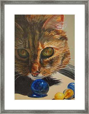 Framed Print featuring the painting Curious by Karen Ilari