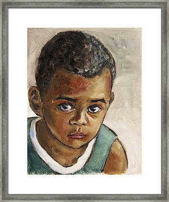 Curious Little Boy Framed Print