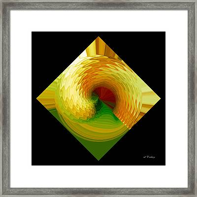Framed Print featuring the digital art Curl I In Green And Gold by Roy Erickson
