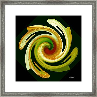 Framed Print featuring the digital art Curl II In Green And Gold by Roy Erickson