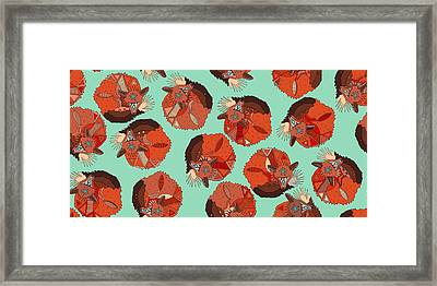 Curled Fox Polka Mint Framed Print by Sharon Turner