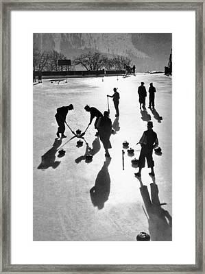 Curling At St. Moritz Framed Print