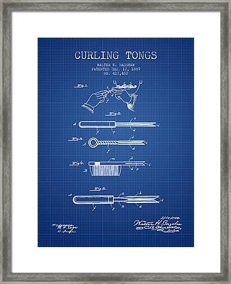 Curling Tongs Patent From 1889 - Blueprint Framed Print by Aged Pixel