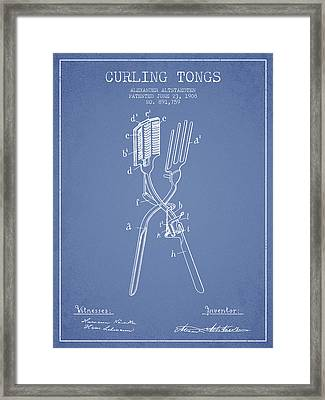 Curling Tongs Patent From 1908 - Light Blue Framed Print by Aged Pixel