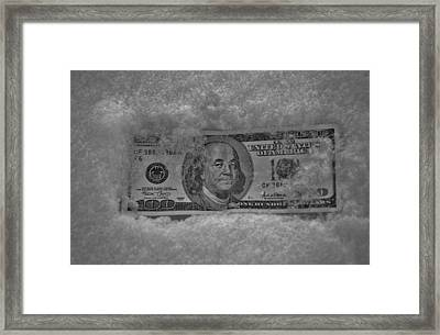 Currency Freeze Framed Print by Robert Geary