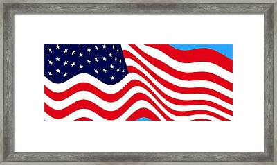 Current American Flag Cropped X 2 Wide Framed Print