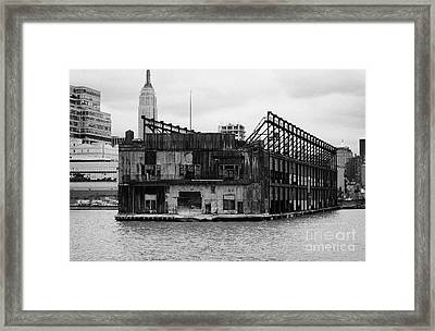 Currently Condemned Pier 64 On The Hudson River New York City Usa Framed Print by Joe Fox