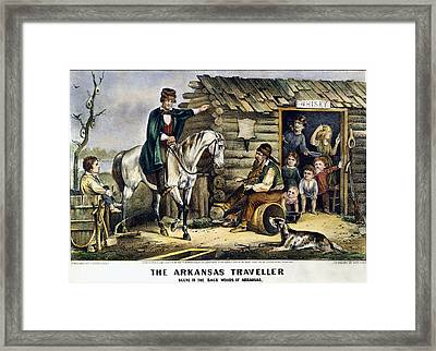 Currier & Ives The Arkansas Traveler Framed Print by Granger