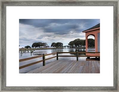 Currituck Sound Boardwalk II Framed Print by Steven Ainsworth