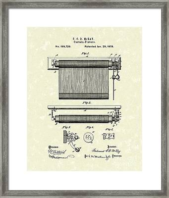 Curtain Fixture 1878 Patent Art Framed Print by Prior Art Design