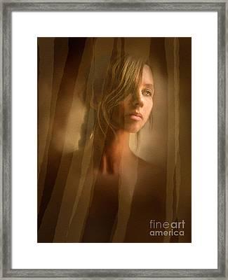 Curtain Girl Framed Print by Robert Foster