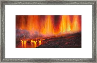Erupting Kilauea Volcano On The Big Island Of Hawaii - Lava Curtain Framed Print by Karen Whitworth