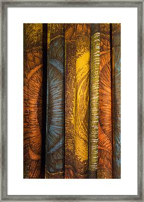 Curtain With Beautiful Yellow Orange Golden Brown And Blue Colors Framed Print