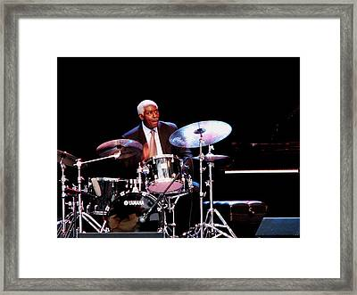 Curtis Boyd On Drums Framed Print by Cleaster Cotton