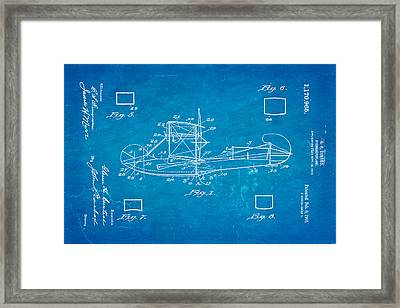 Curtiss Hydroplane Patent Art 1916 Blueprint Framed Print by Ian Monk