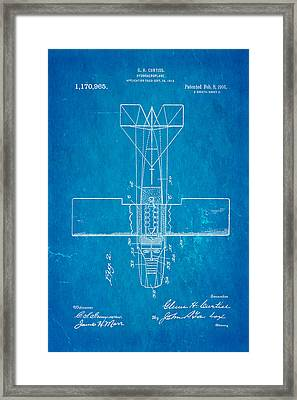 Curtiss Hydroplane Patent Art 2 1916 Blueprint Framed Print by Ian Monk
