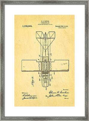 Curtiss Hydroplane Patent Art 2 1916 Framed Print by Ian Monk