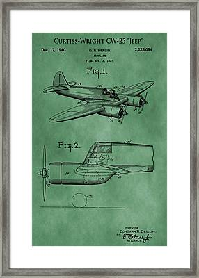 Curtiss-wright Patent Green Framed Print