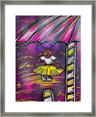 Curtsy Doll Rain Framed Print