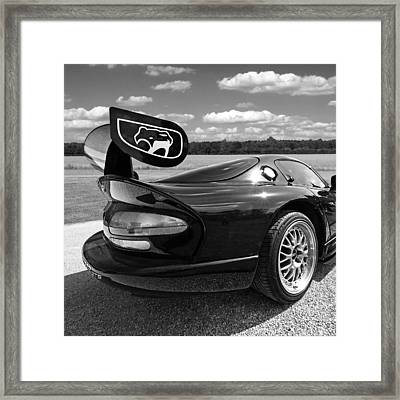 Curvalicious Viper Black And White - Square Framed Print by Gill Billington