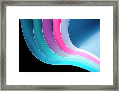 Curves Of Colored Papers On Black Framed Print by Colormos