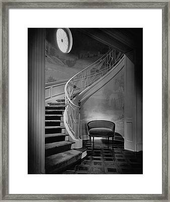 Curving Staircase In The Home Of  W. E. Sheppard Framed Print by Maynard Parker