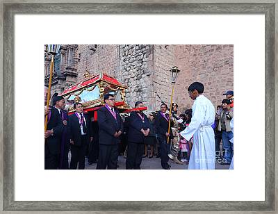 Cusco Good Friday Procession Framed Print by James Brunker