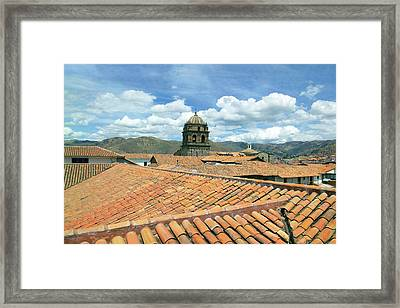 Cusco, Peru, Red Tiled Rooftops Framed Print by Miva Stock