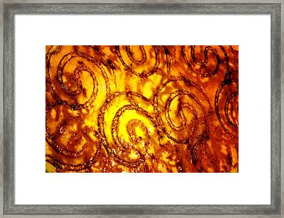 Custard With Burnt Designs Of Circles Framed Print