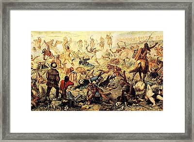 Custer's Last Fight Detail Framed Print by Unknown