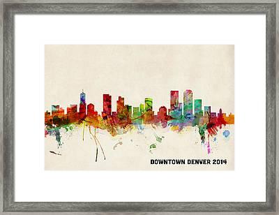 Custom Denver Skyline Framed Print by Michael Tompsett