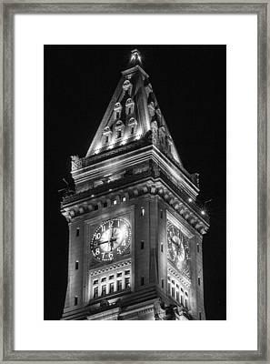 Custom House In Boston Black And White Framed Print