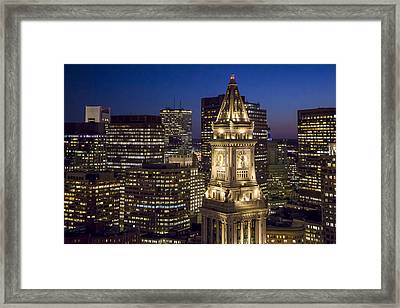Custom House Tower At Night Framed Print