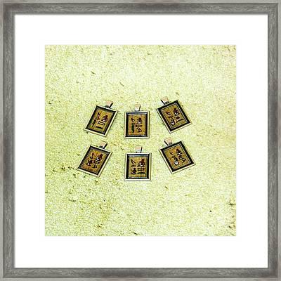 Custom I Love You Egyptian Papyrus Hieroglyphic Necklace Framed Print by Pet Serrano