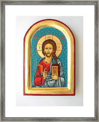 Custom Jesus Christ Pantokrator Hand Painted Byzantine Icon Christian Art First Communion Gift  Framed Print by Denise ClemencoIcons