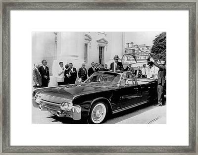 Custom Lincoln Limo For Jfk Framed Print by Underwood Archives