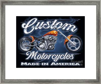 Custom Motorcycles Framed Print by JQ Licensing
