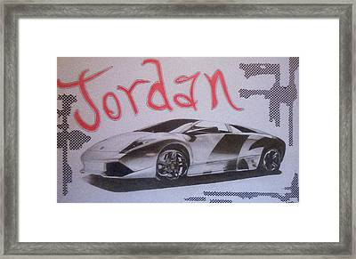Custom Name With Lamborghini Framed Print