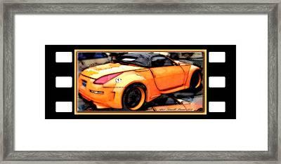 Custom Orange Sports Car Framed Print by Danielle  Parent
