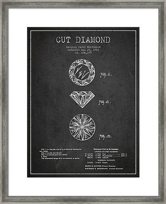 Cut Diamond Patent From 1966 - Dark Framed Print by Aged Pixel
