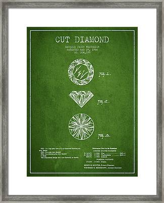 Cut Diamond Patent From 1966 - Green Framed Print