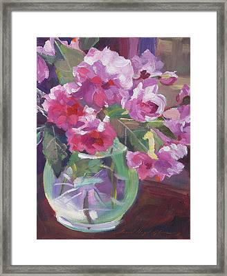 Cut Flowers In Glass Framed Print