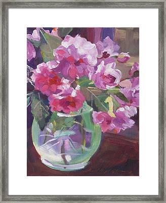 Cut Flowers In Glass Framed Print by David Lloyd Glover