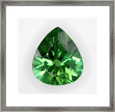 Cut Green Tourmaline Gemstone Framed Print