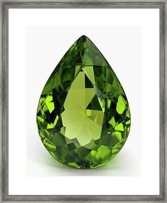 Cut Peridot Gemstone Framed Print by Dorling Kindersley/uig